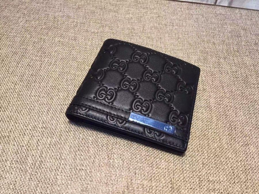 Replica Gucci 233100 Men Small Wallet Black Gucci Signature Soft Leather