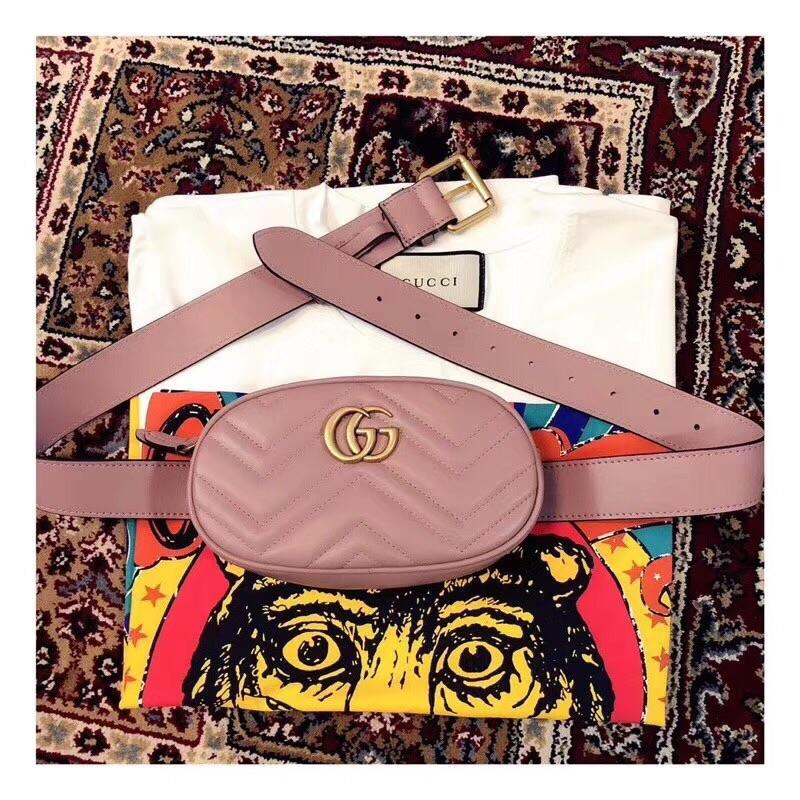 Replica Gucci 476434 GG Marmont Matelasse Leather Belt Bag