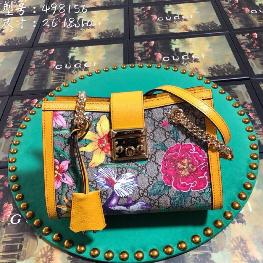 Replica Gucci 498156 Women Padlock GG Flora Small Shoulder Bag Yellow