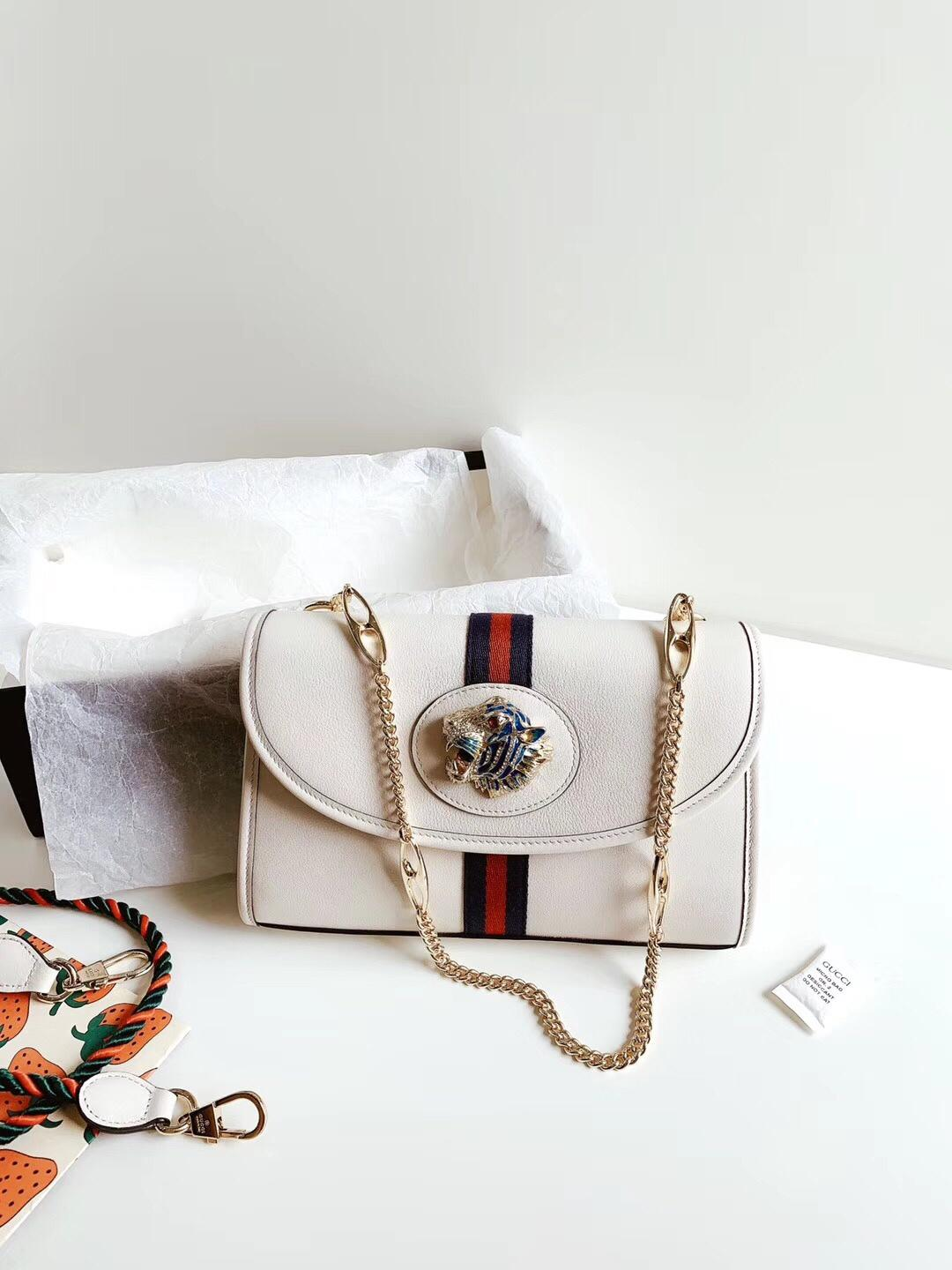 Replica Gucci Rajah Mini Bag White Leather 573797