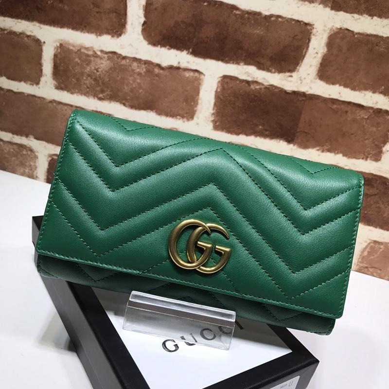 Replica Gucci Women GG Marmont Continental Wallet Green 443436