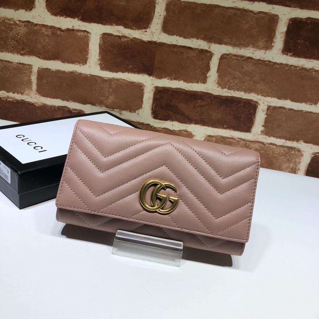 Replica Gucci Women GG Marmont Continental Wallet Pink 443436