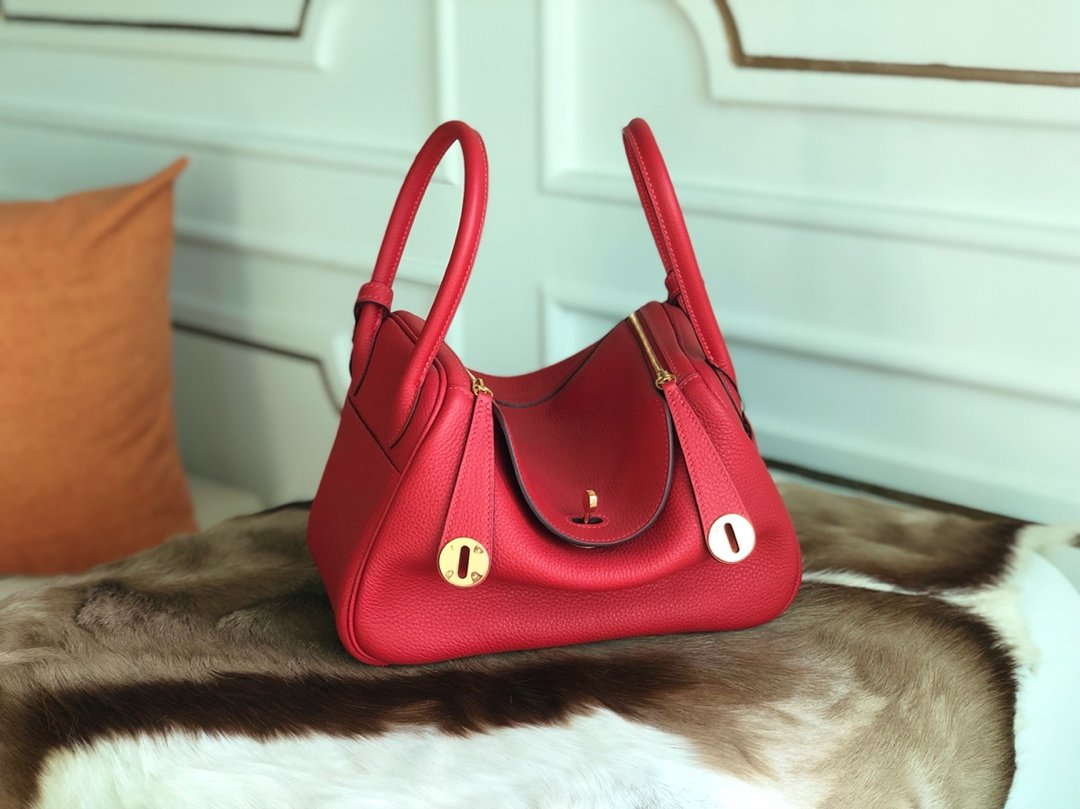 Replica Hermes Lindy Swift Calf Togo Leather Shoulder Bag Red