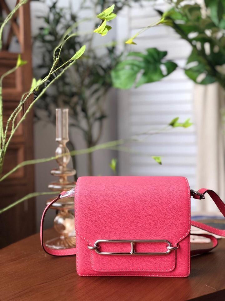 Replica Hermes Roulis Mini 19cm Swift Calf Togo Leather Shoulder Bag Pink