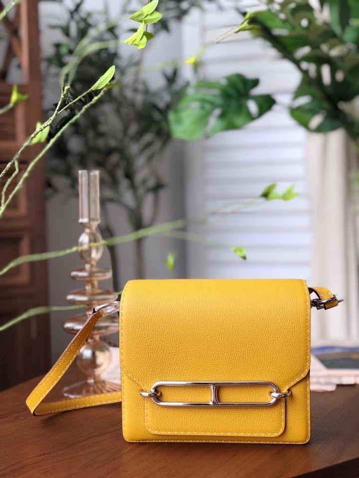 Replica Hermes Roulis Mini 19cm Swift Calf Togo Leather Shoulder Bag Yellow