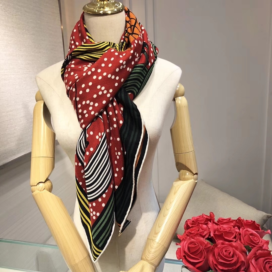 Replica Hermes Women Scarf Mulberry Silk and Cashmere 0001