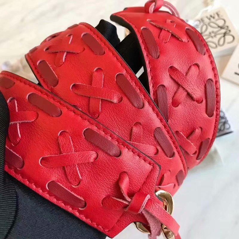 Replica Loewe Women Leather Weave Shoulder Strap Red