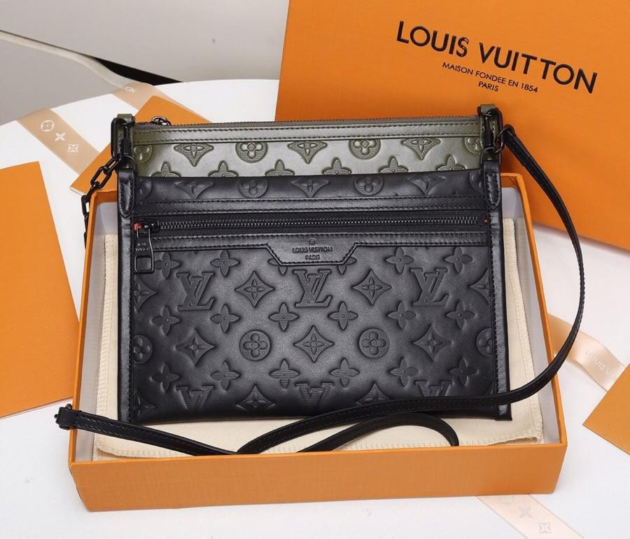 Replica Louis Vuitton Double Flat Messenger Created from Two Separate Zip-close Pouches M44635