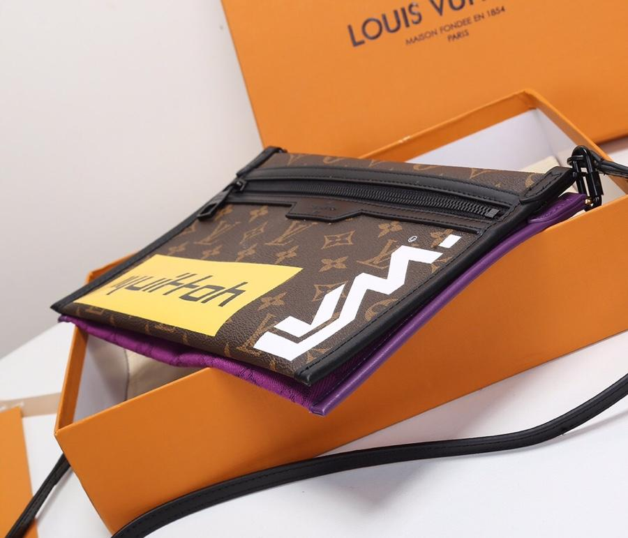 Replica Louis Vuitton Double Flat Messenger Created from Two Separate Zip-close Pouches M44641