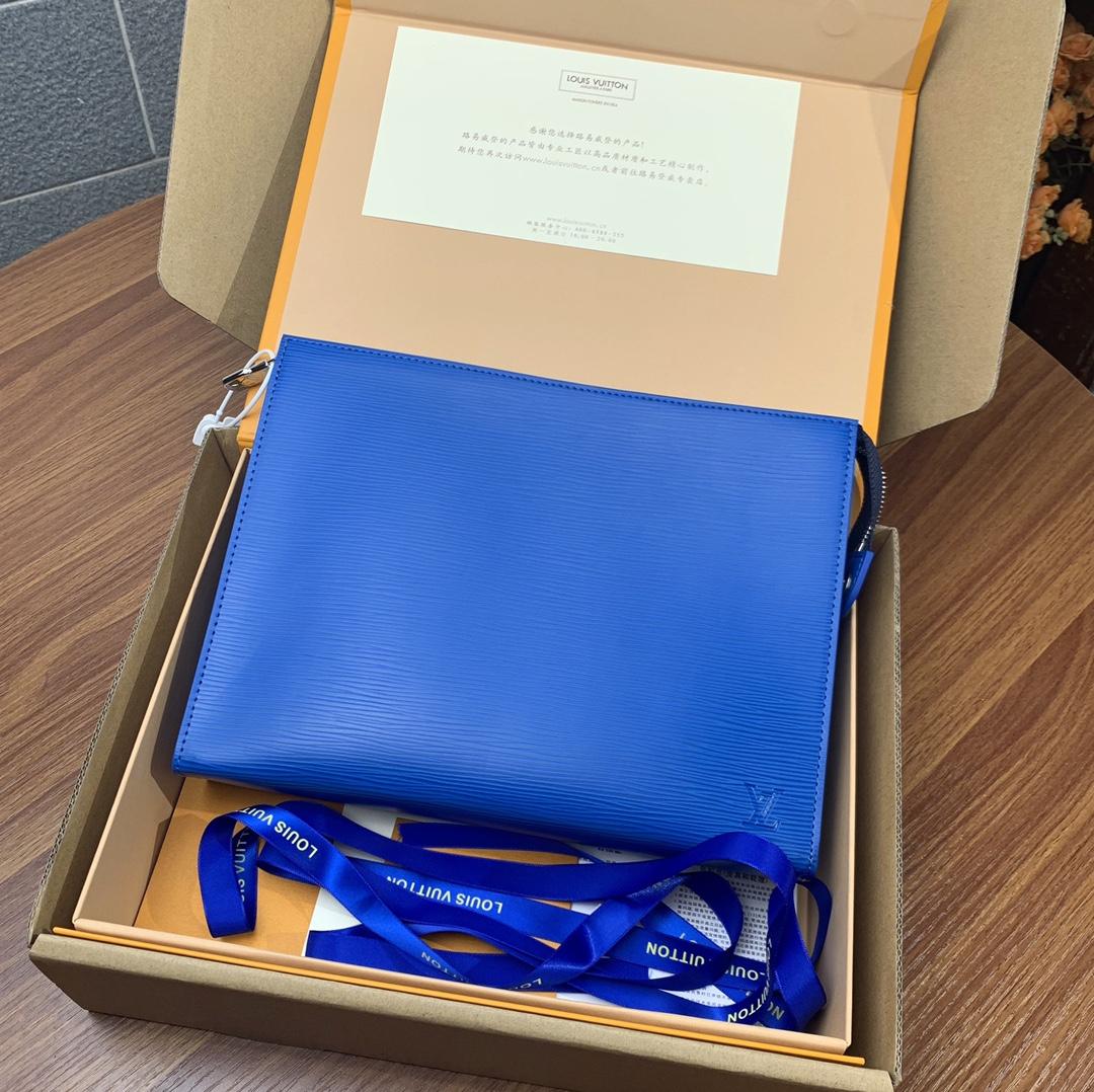 Replica Louis Vuitton M41366 Pochette Voyage MM Monogram Taigarama Denim Blue