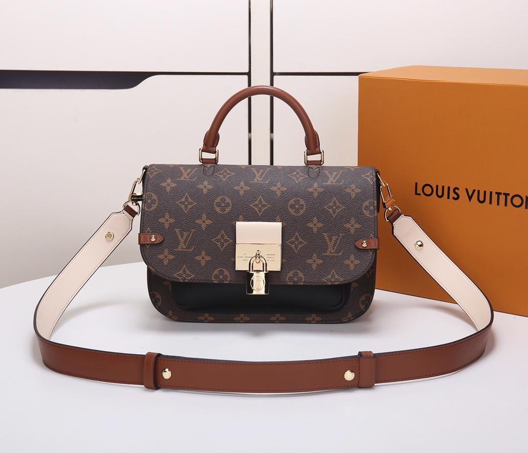 Replica Louis Vuitton M44354 Women Vaugirard Monogram Coated Canvas and Grained Leather Noir