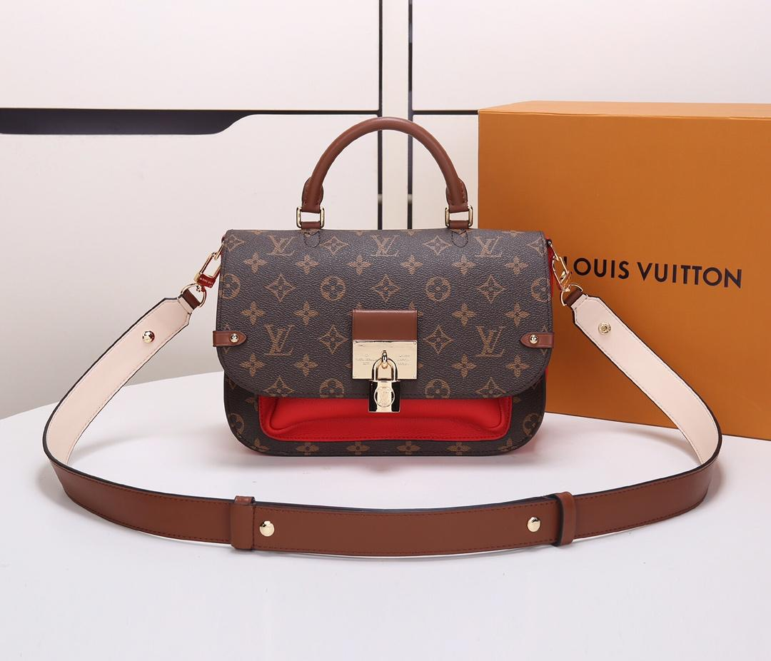 Replica Louis Vuitton M44548 Women Vaugirard Monogram Coated Canvas and Grained Leather Coquelicot Red