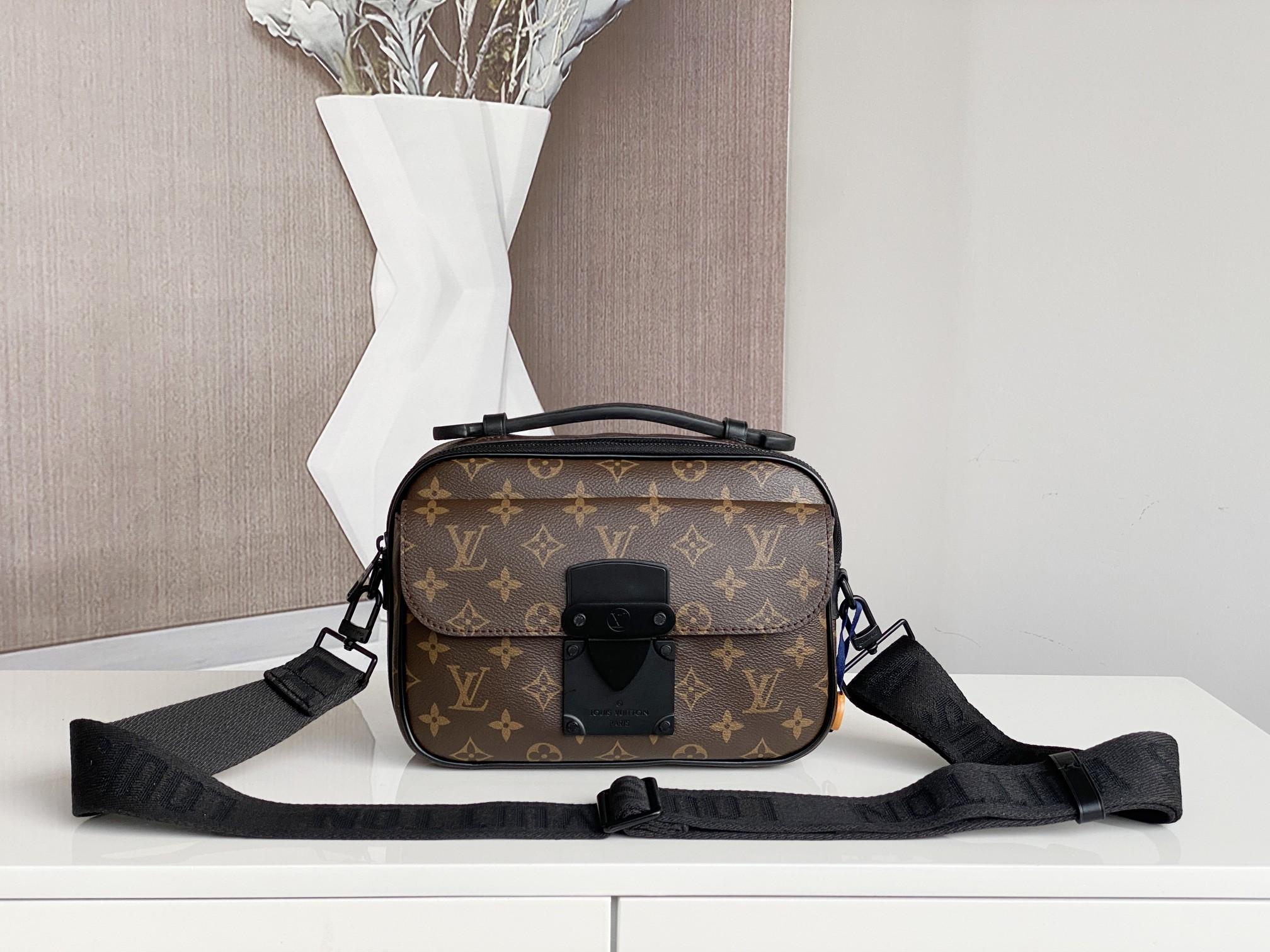 Replica Louis Vuitton M45806 S Lock Messenger Monogram Macassar Black
