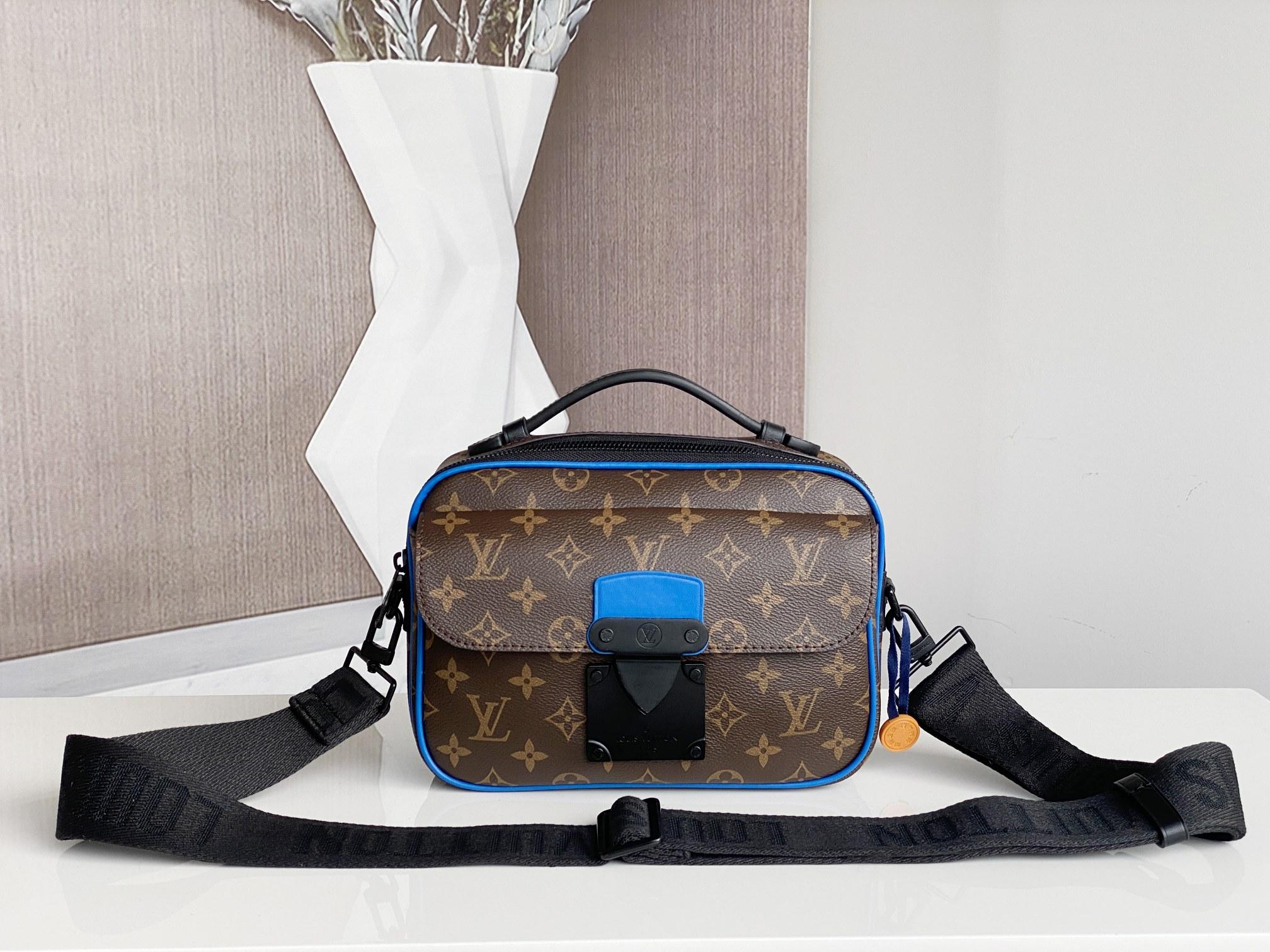 Replica Louis Vuitton M45863 S Lock Messenger Monogram Macassar Blue