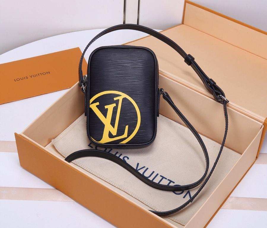 Replica Louis Vuitton M55120 Danube PM Black Epi leather and Signed with Acid-green LV Initials