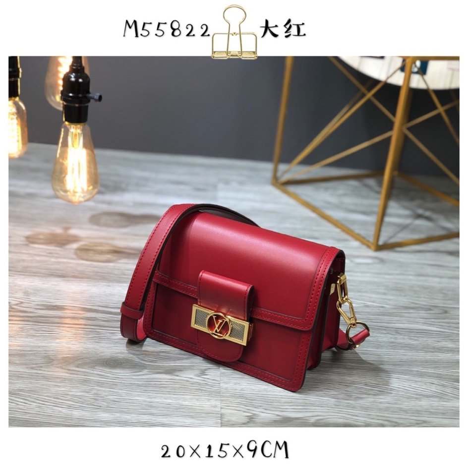 Replica Louis Vuitton M55735 Dauphine MM Cherry Berry Smooth Leather
