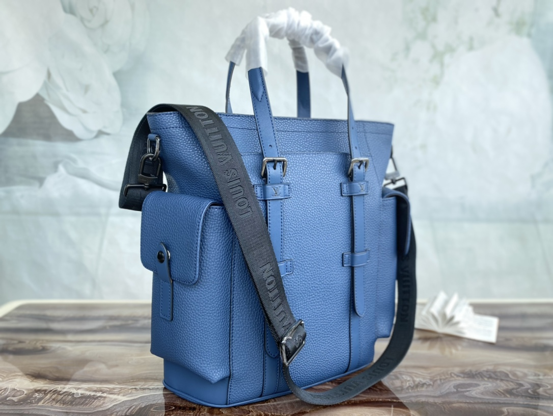 Replica Louis Vuitton M58479 Christopher Tote Backpack Blue Taurillon Leather