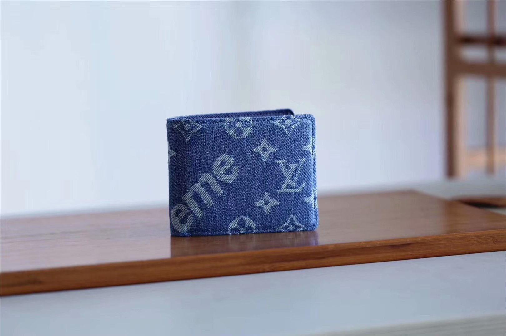 Replica Louis Vuitton M60895 Supreme Men Wallet Blue Denim