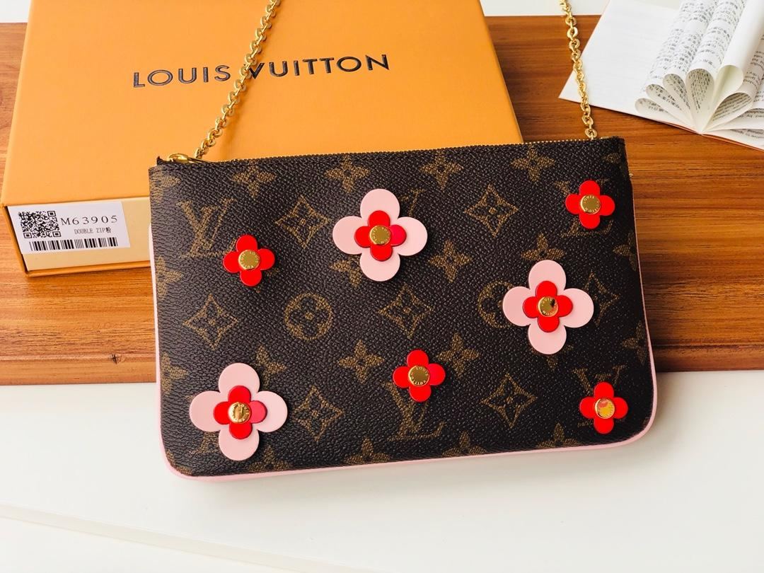Replica Louis Vuitton M63905 Pochette Double Zip Blooming Flowers Monogram Coated Canvas Chain Wallet