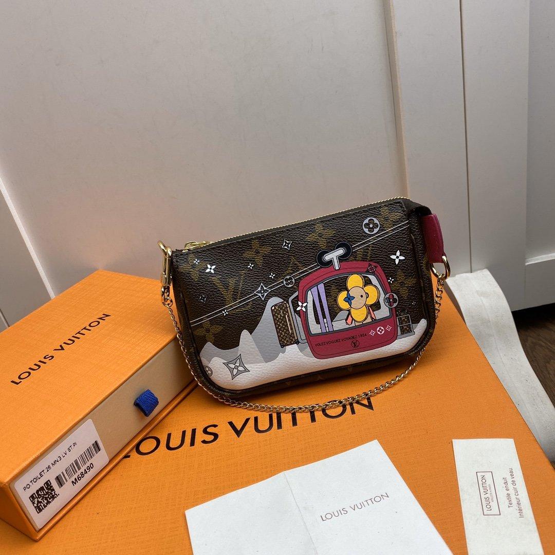 Replica Louis Vuitton M68490 Mini Pochette Accessoires Damier Ebene Coated Canvas