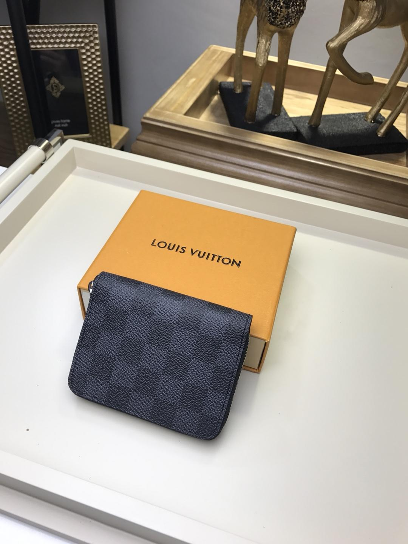 Replica Louis Vuitton Men Zipper Small Wallet Damier Graphite