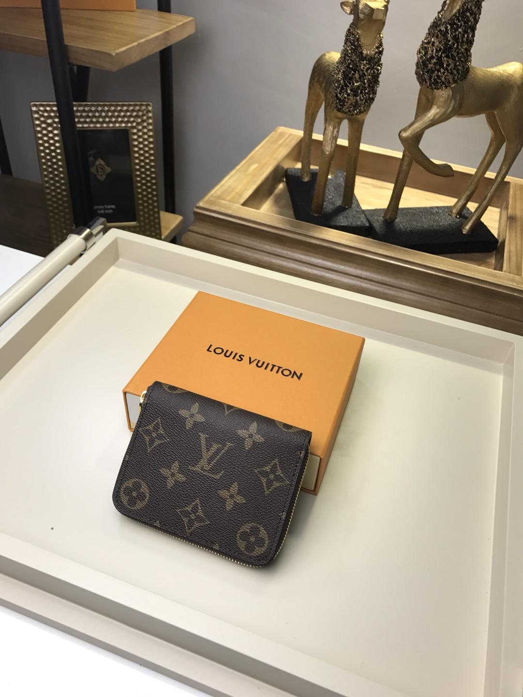 Replica Louis Vuitton Men Zipper Small Wallet Monogram Coated Canvas