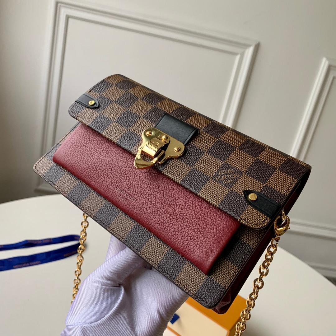 Replica Louis Vuitton N60221 Women Vavin Chain Wallet Damier Ebene Coated Canvas and Cowhide Leather Bordeaux Noir