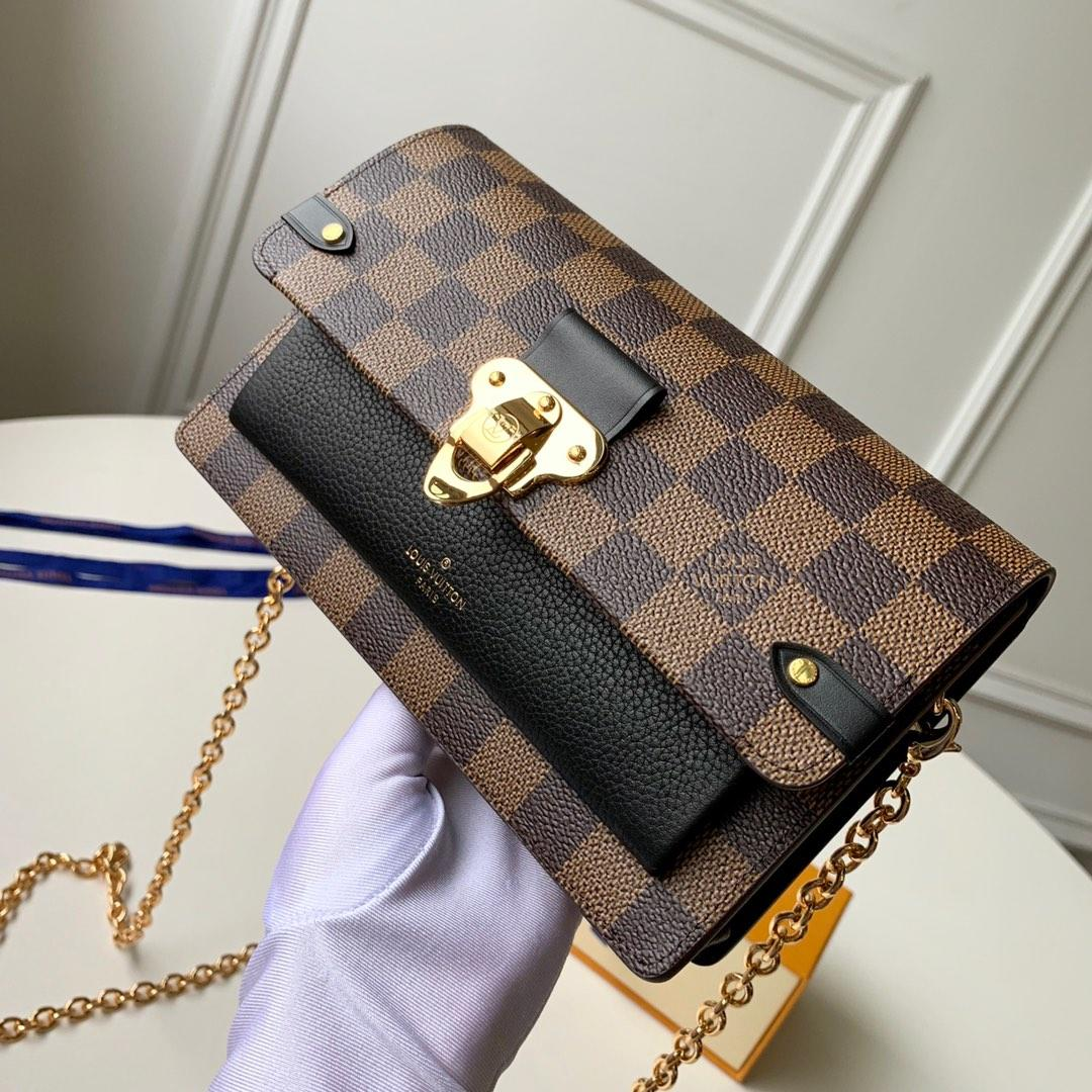 Replica Louis Vuitton N60221 Women Vavin Chain Wallet Damier Ebene Coated Canvas and Cowhide Leather Noir