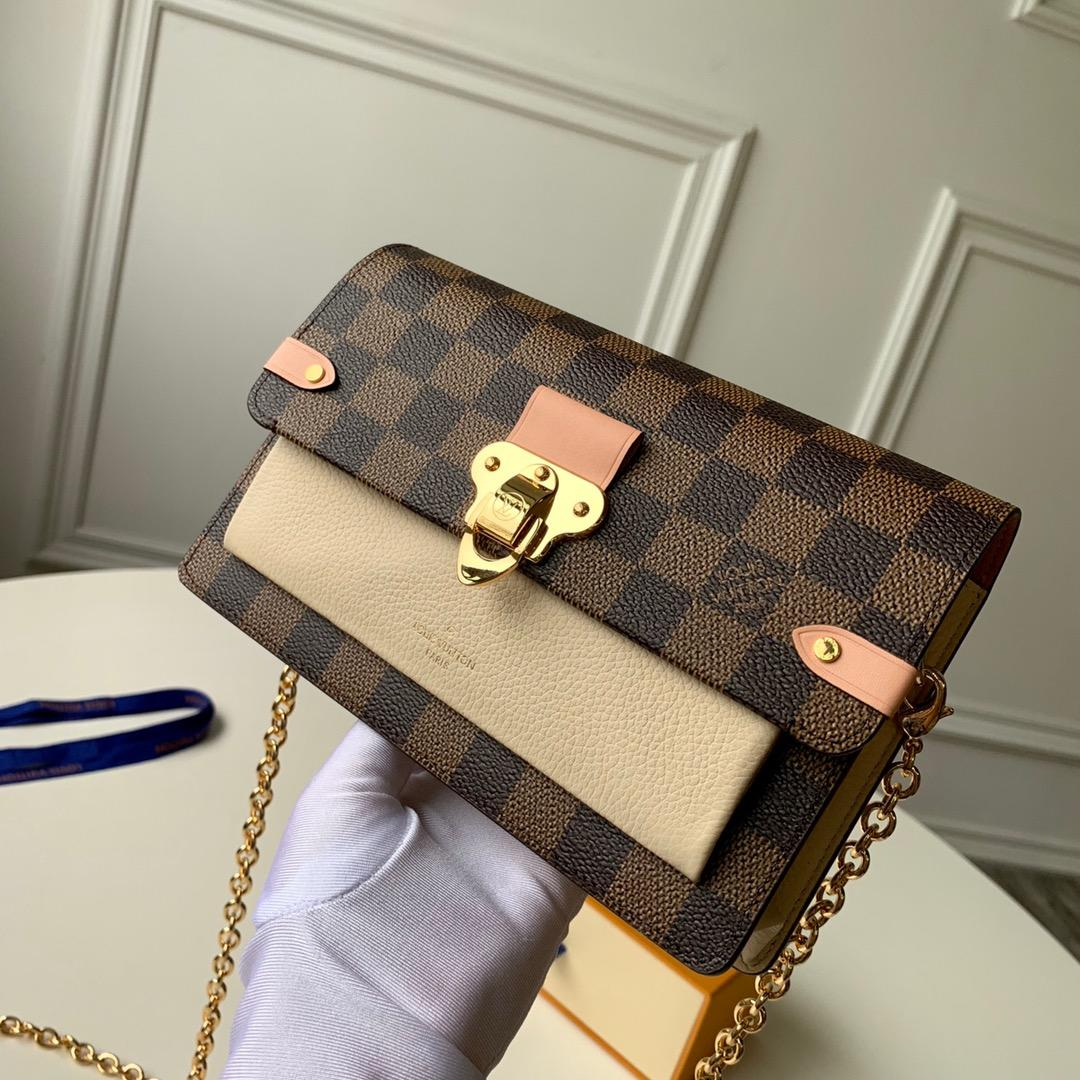 Replica Louis Vuitton N60237 Women Vavin Chain Wallet Damier Ebene Coated Canvas and Cowhide Leather Creme