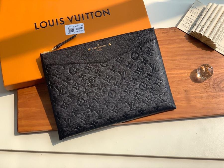 Replica Louis Vuitton Women Daily Pouch Monogram Empreinte Leather Noir M62937