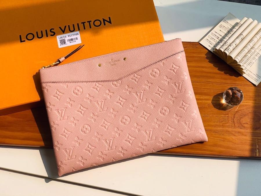Replica Louis Vuitton Women Daily Pouch Monogram Empreinte Leather Rose Poudre M62938