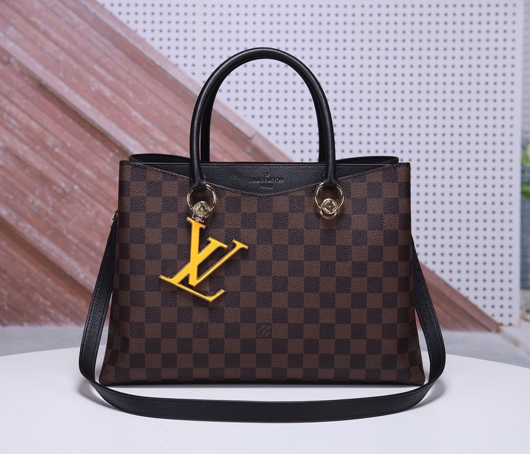 Replica Louis Vuitton Women N40050 LV Riverside Damier Ebene Coated Canvas and Taurillon Grained Leather Noir