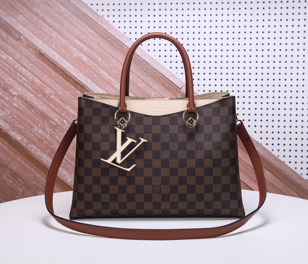 Replica Louis Vuitton Women N40135 LV Riverside Damier Ebene Coated Canvas and Taurillon Grained Leather Lie de Vin