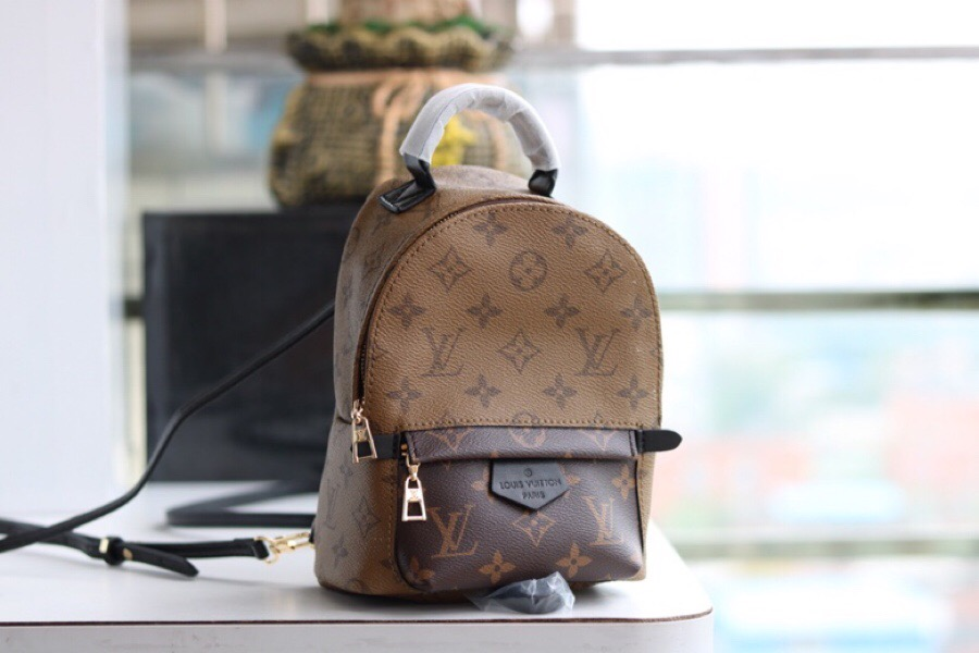 Replica Luxury Louis Vuitton M42411 Palm Springs Backpack Mini Monogram Reverse Canvas