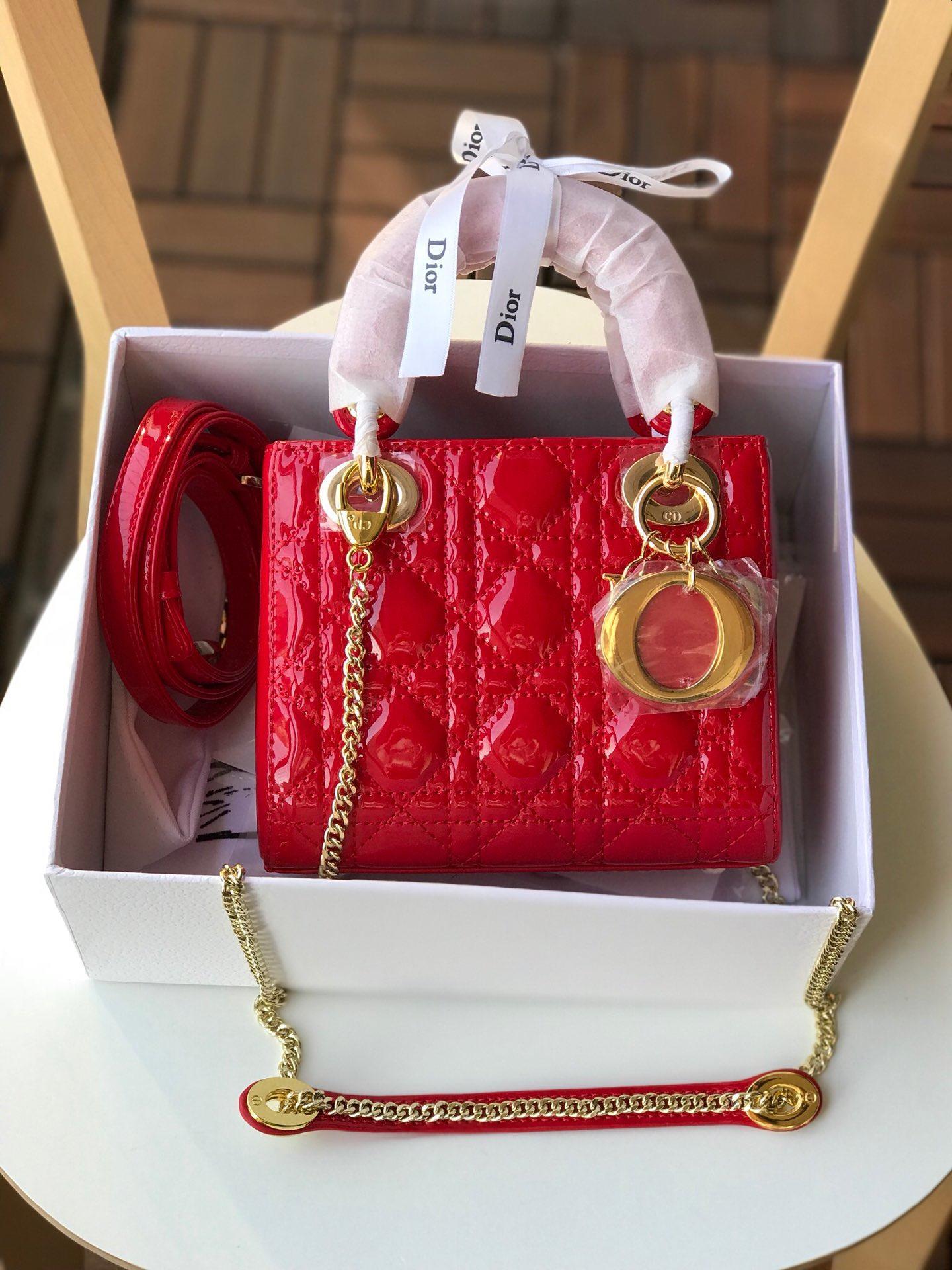 Replica Mini Dior Lady Calfskin Bag in Bright Red Patent Gold-tone Metal