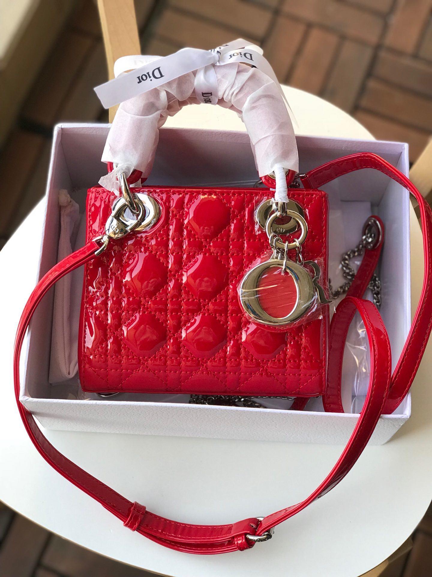 Replica Mini Dior Lady Calfskin Bag in Bright Red Patent Silver-tone Metal