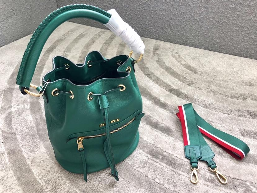 Replica MiuMiu 5BE027 Women Leather Bucket Bag Green
