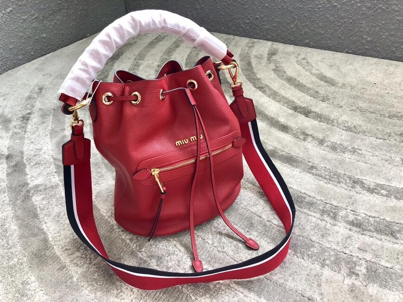 Replica MiuMiu 5BE027 Women Leather Bucket Bag Red