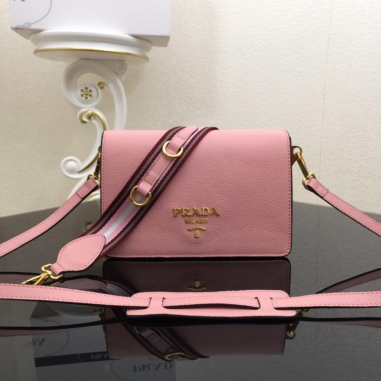 Replica Prada 1BD102 Calf Leather Women Shoulder Bag Pink