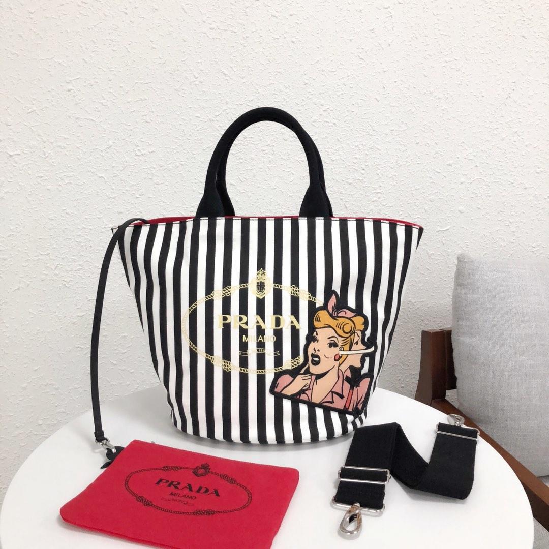 Replica Prada 1BG163 Women Fabric Handbag Black