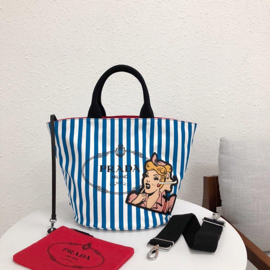 Replica Prada 1BG163 Women Fabric Handbag Blue