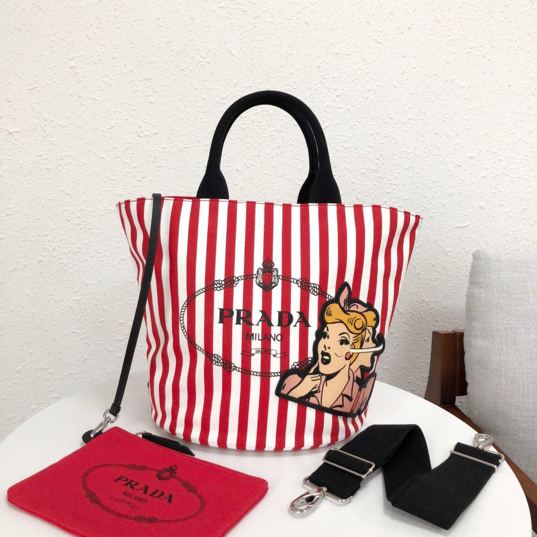 Replica Prada 1BG163 Women Fabric Handbag Red