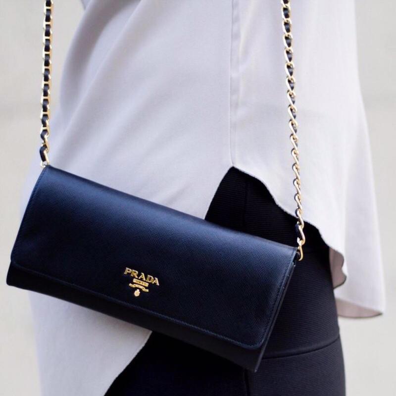 Replica Prada 1M1290 Saffiano Women Wallet with Chain More Colors