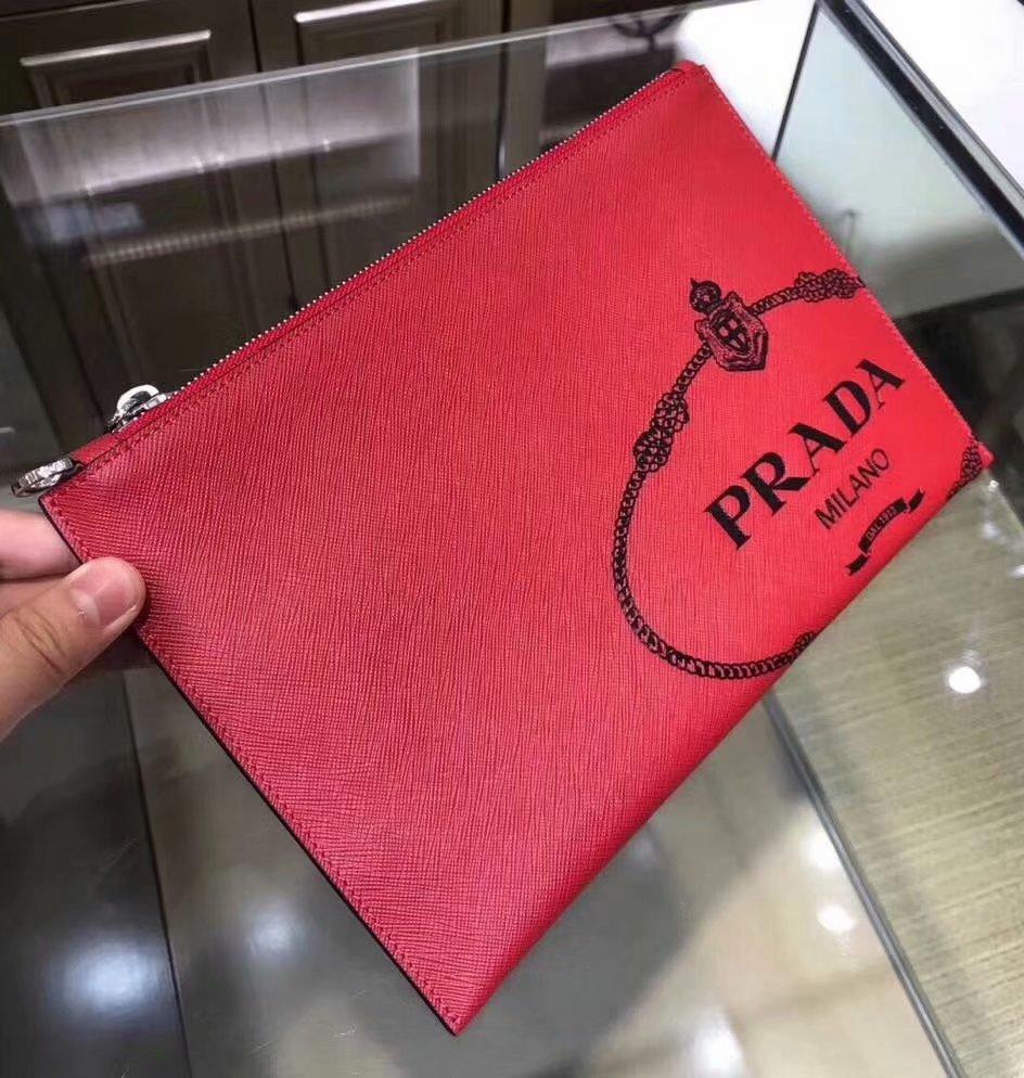 Replica Prada 2NG03 Saffiano Leather Men Clutch Bag Red