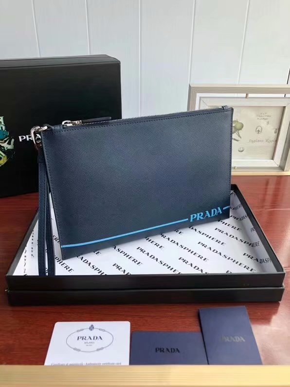 Replica Prada 2NG038 Saffiano Leather Men Clutch Bag Blue