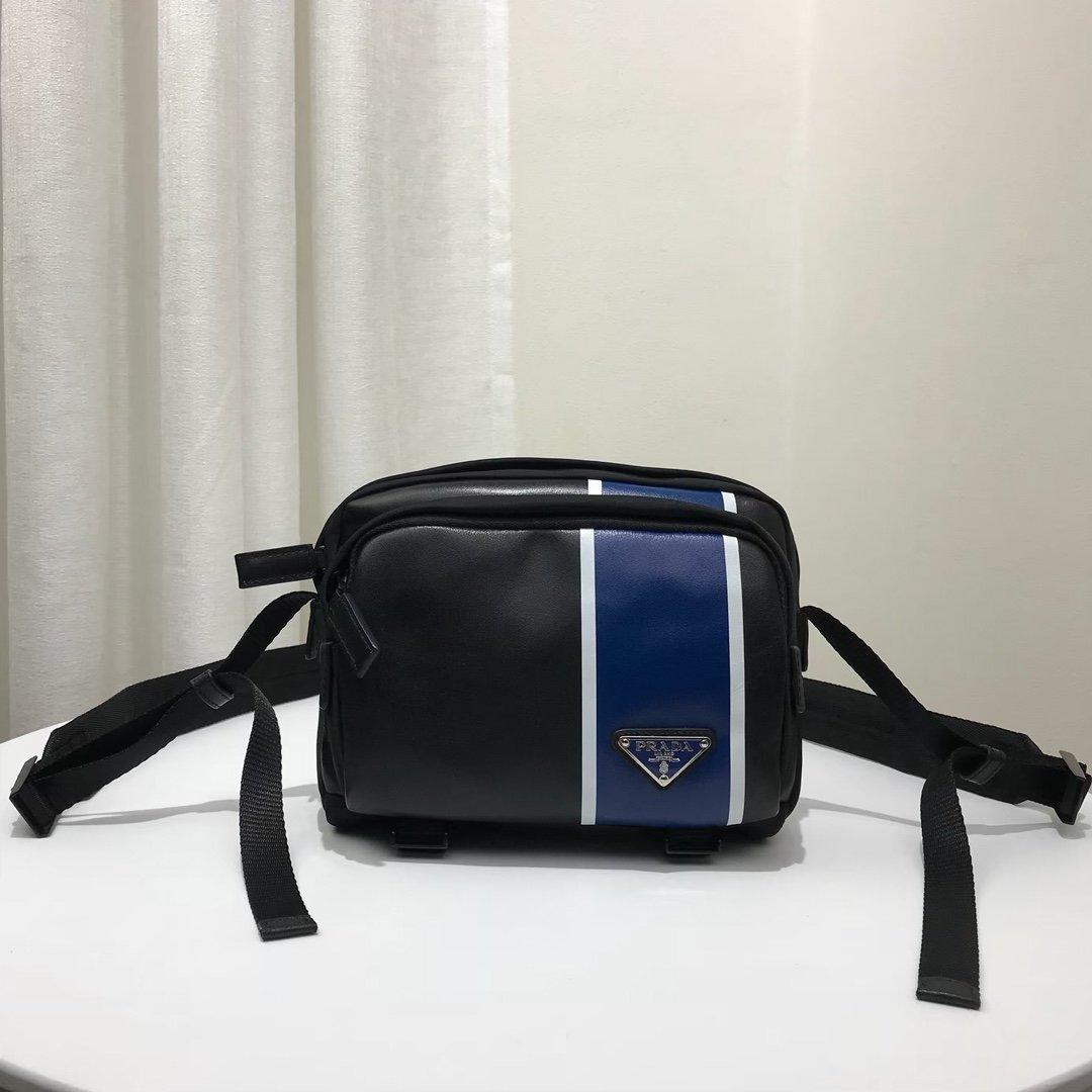 Replica Prada 2VH043 Men Technical Fabric and Leather Bandoleer Bag Black