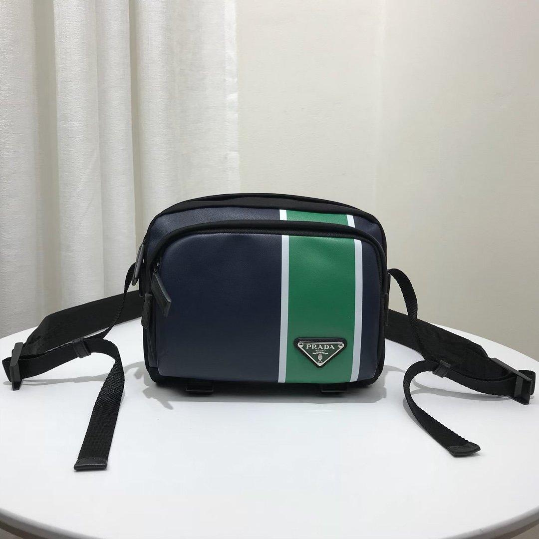Replica Prada 2VH043 Men Technical Fabric and Leather Bandoleer Bag Blue