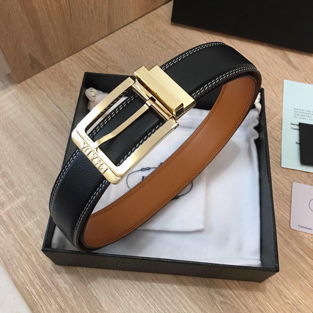 Replica Prada Men Leather Reversible Belt Width 3.4cm With Gold Buckle 005