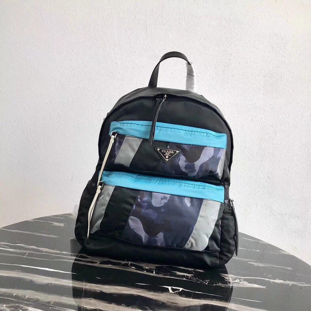 Replica Prada Men Printed Technical Fabric Backpack Black 2VZ025