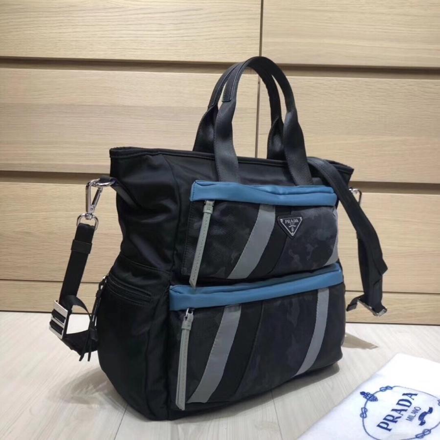 Replica Prada Men Printed Technical Fabric Tote Bag Black 2VZ025
